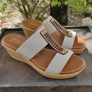 Italian Shoemakers Wedge Sandals H Strap Taupe